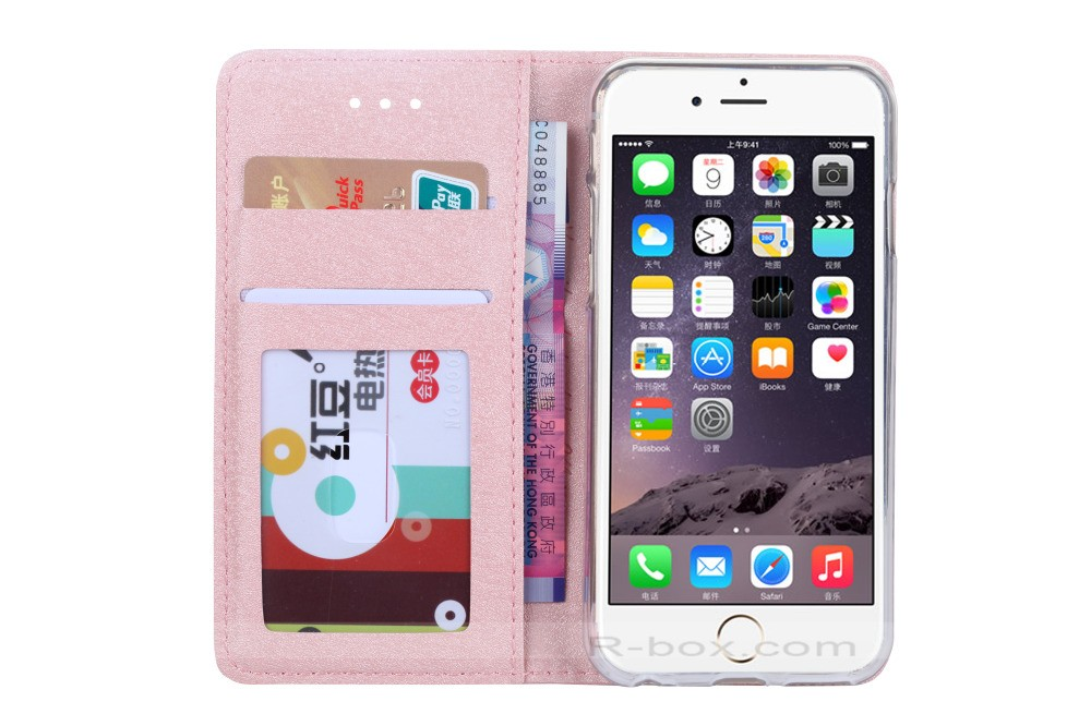 Luxury Wallet PU Leather And Transparent Soft Silicone Back Cover Case For iPhone 6 6s 4.7″ Flip Phone Case with Card Holder