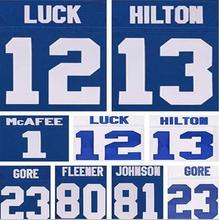 Best quality jersey,Men's 1 Pat McAfee 12 Andrew Luck 81 Andre Johnson 13 T.Y. Hilton elite jersey,White,Blue,Size M-XXXL(China (Mainland))