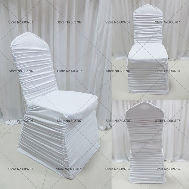 Free Shipping White/Wine/Blue/Red Ruffle Spandex Chair Cover 100pcs/lot Wholehouse Top Cheaper Price For Weddiing