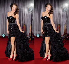 Charming Sexy Black Quinceanera Dresses Hi-Lo Prom dresses shiny sequins ruffle prom dresses size available WHL105(China (Mainland))