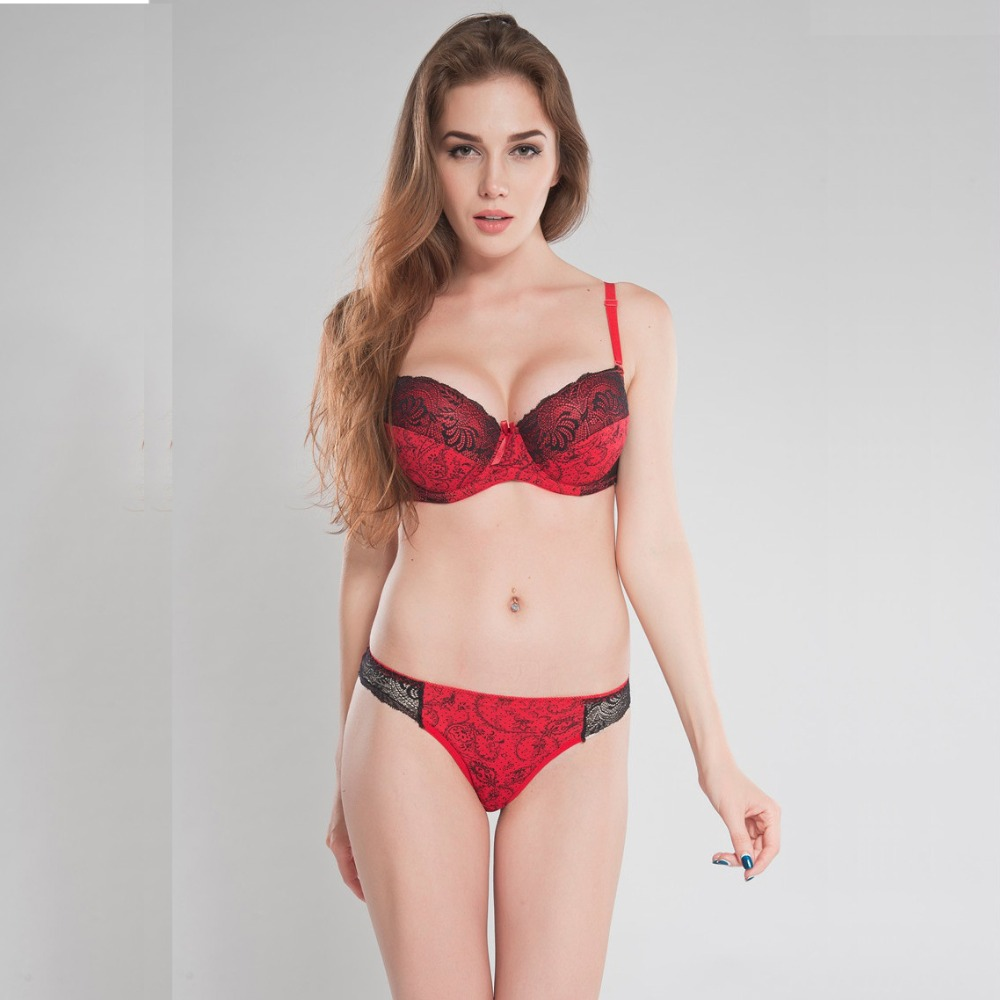 Color Red Black White Sexy Women's Bra Underwear Set VS Push Up Bra and Thong Set BCD 3/4 cup size 34C 36D 38C 38D 40C 40D 40DD(China (Mainland))