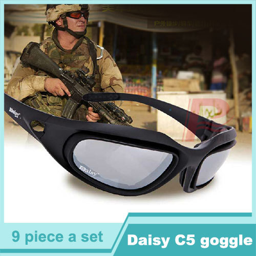 UV400 Daisy C5 sunglasses Desert Storm Goggles Tactical Eyewear Cycling Riding Eye Protection Glasses with 4 Lens HT12-0006(China (Mainland))
