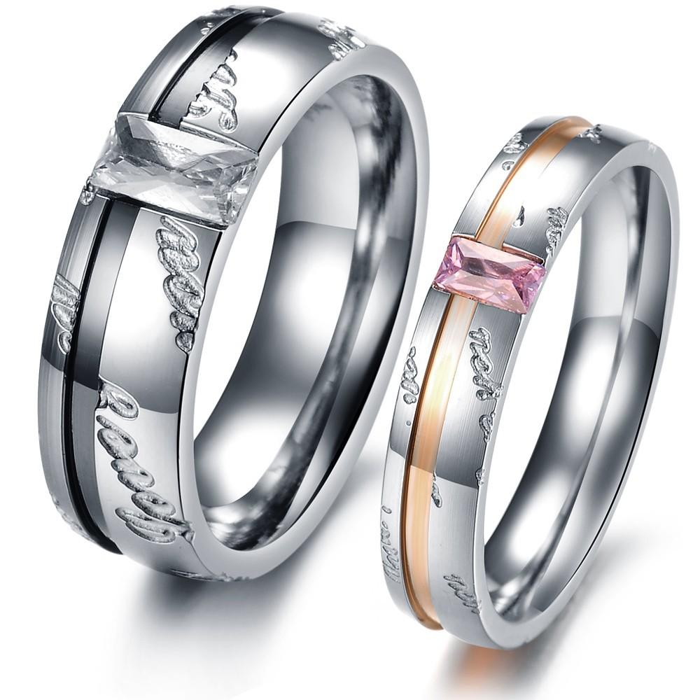 new jewelry fashion boutique selling trend beautifully simple English titanium steel couple rings GJ327 - kiki ( worldwide store)