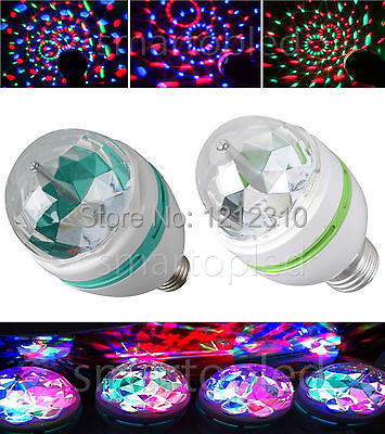 2014 Full Color 3W Rotate LED RGB lamp DJ party stage Bulb rotating Lamp Small Crystal Magic Ball Light Rotating Free shipping(China (Mainland))