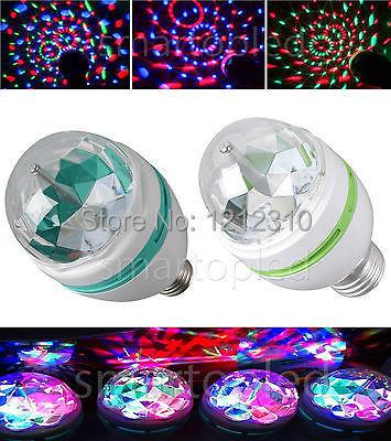2014 Full Color 3W Rotate LED RGB lamp DJ party stage Bulb rotating Lamp Small Crystal Magic Ball Light Rotating Free shipping(China (Mainland))