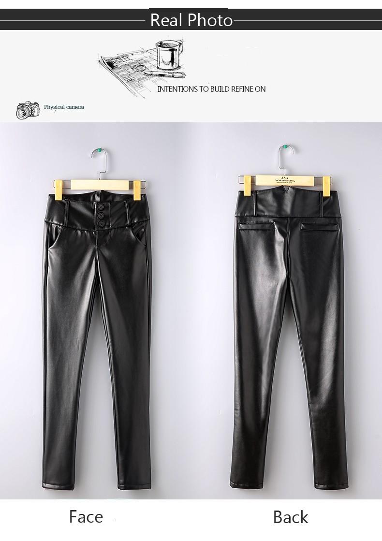 קידום!65% הנחה על נשים גבוהה המותניים מכנסי עור 3XL בתוספת גודל סלים עיפרון מכנסיים באיכות hight עור מכנסיים הסיטוניים!