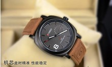 2015 Hot sell fashion men quartz military outdoor sport climbing brown leather strap noctilucous wristwatchFree shipping