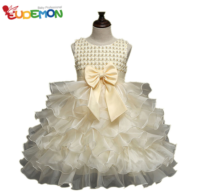 [Eudemon] girls dresses summer 2016 Kids Party Weeding Dress Mesh Bow Princesses Dresses For Children robe enfant fille mariage(China (Mainland))