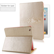 New arrive 3D tyrant gold crocodile leather cover high quality tablet case for ipad mini 1 2 3(China (Mainland))