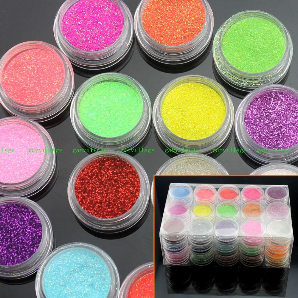 45 Color/Set Mini Bottle Nail Art Glitter Powder Dust For Tips UV GEL Tips Body Craft Hot Polish Decoration Festival Party Shop(China (Mainland))