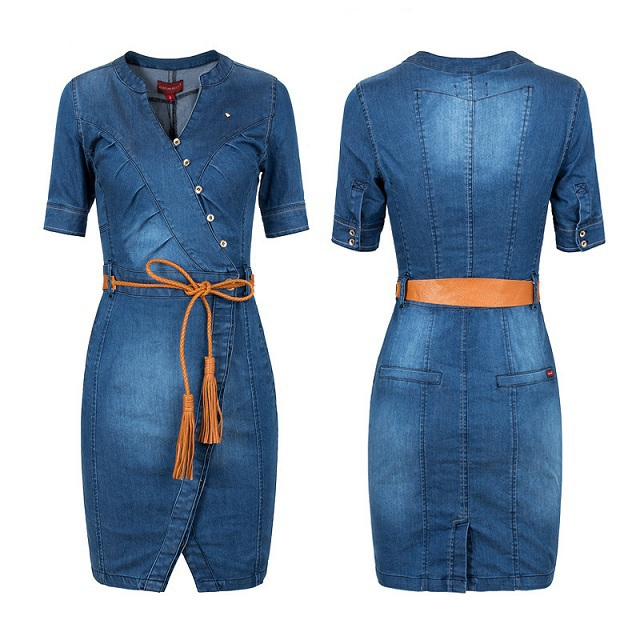 цены  Женское платье 2014 New Arrival Spring Summer Female Sexy Dress Plus size S-3XL 2015 /v/3xl QY0569 Plus size S-3XL women denim Slim dress with waist strap QY0569