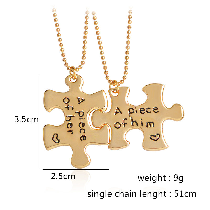 """A piece of her, A piece of him"" Puzzle Couple Necklace"
