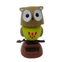Solar Powered Owl Car Ornaments New Home Office Desktop Decoration Hot Sale Solar Owl Toy  Gift for Kids and Friends(China (Mainland))