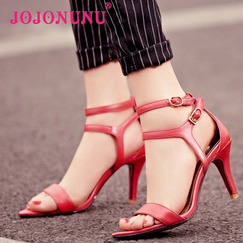 women real genuine leather stiletto ankle strap party high heel sandals brand sexy fashion ladies heeled shoes size 34-40 R6989<br><br>Aliexpress