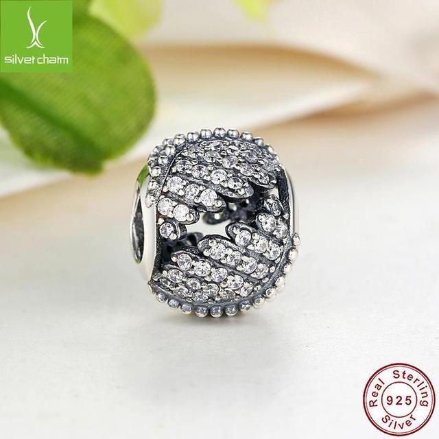 Настоящее стерлингового серебра 925 величественный перья очарование Fit оригинальный ...