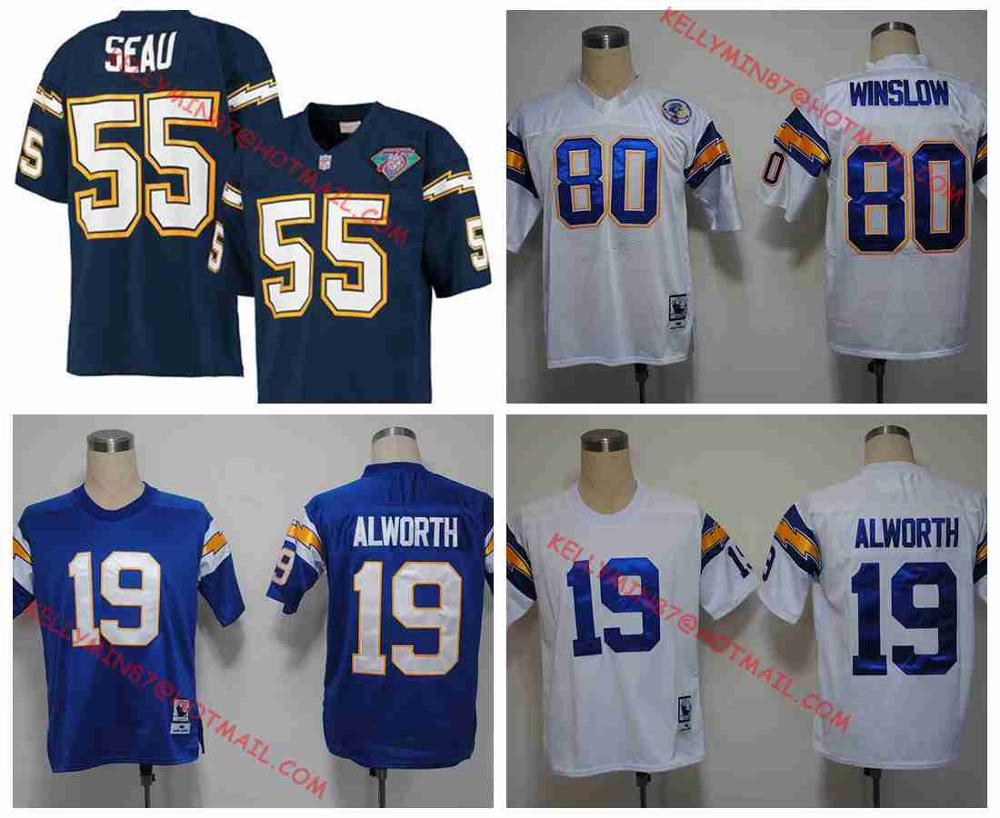 100% Stitiched,San Diego Chargers,Kellen Winslow,Junior Seau,Lance Alworth ,Throwback for men(China (Mainland))