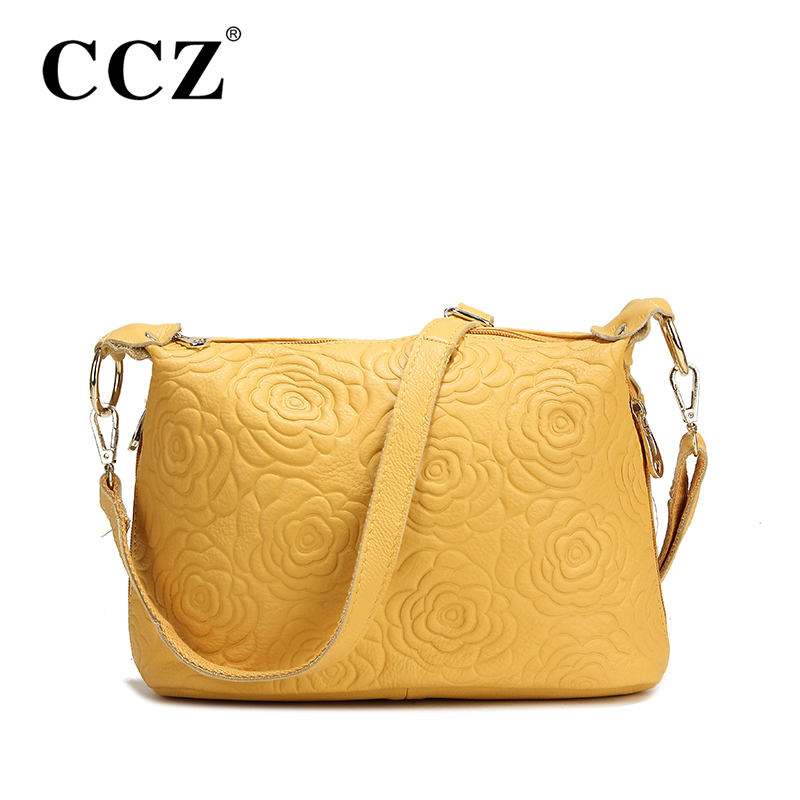 CCZ Cowhide Women Handbags Famous Brands Genuine Leather Women's Shoulder Bag Fashion Sweet Lady Roses Cross Body Bags SL097F(China (Mainland))