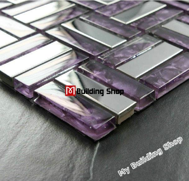 Purple Tile Backsplash Glass Mosaic Art Kitchen Tiles: Purple Glass Mosaic Stainless Steel Tile Backsplash