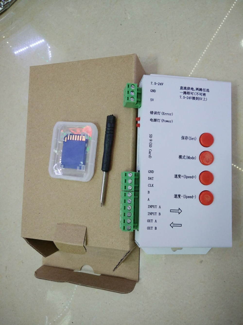 T1000S SD Card WS2801 WS2811 WS2812B LPD6803 LED 2048 Pixels Controller DC5~24V T-1000S DMX 512 RGB Controller(China (Mainland))