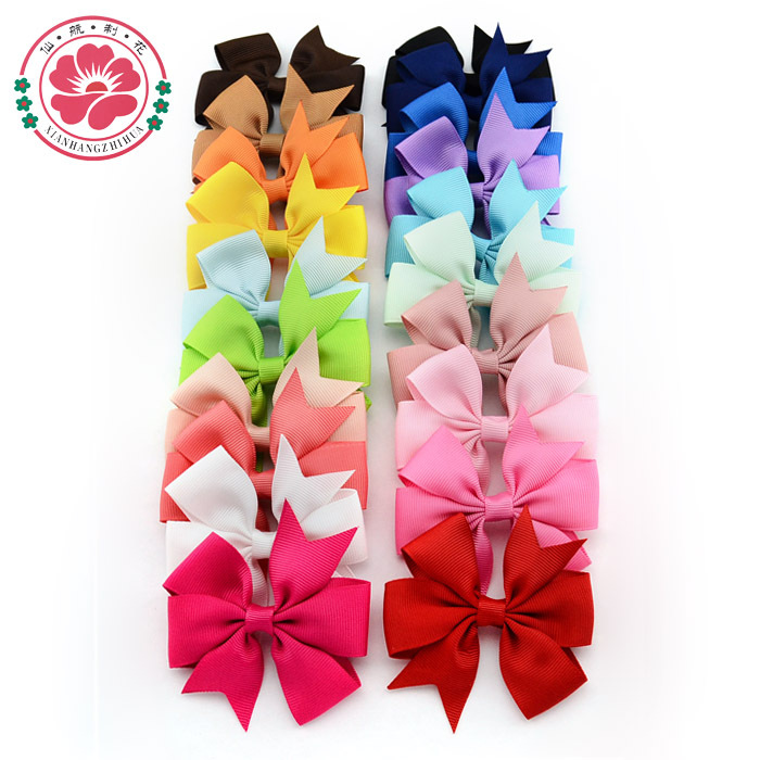 ( 40 pcs/lot) 3 inch Grosgrain Ribbon Hair Bows WITH Clip,Baby Girl Pinwheel HairBows/Hair Clips/Hair Pins Accessories 564(China (Mainland))
