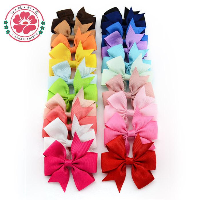 ( 40 pcs/lot) 3 inch Grosgrain Ribbon Hair Bows WITH Clip,Baby Girl Pinwheel HairBows/Hair Clips/Hair Pins Accessories 564(China (Mainland))