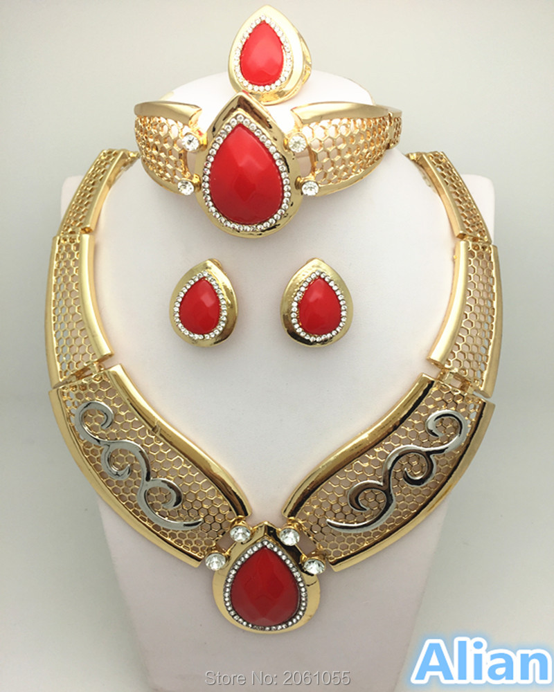 Africa Dubai Jewelry Set For Women Gold Plated Crystal Beads Collar Necklace Earring Bangle Fine Ring Sets Party Costume Latest(China (Mainland))
