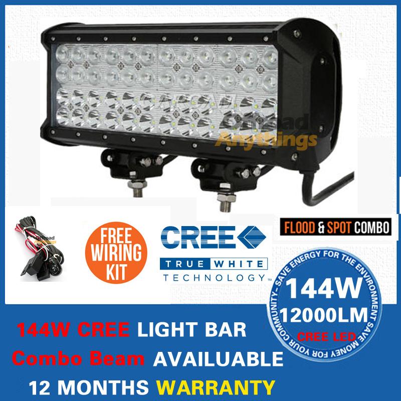 FREE FEDEX SHIPPING! 144W LED WORK LIGHT BAR 48 x 3W CREE LED 10000LM FLOOD SPOT BEAM 4x4 OFFROAD LAMP AUTO DRIVING IP67<br>