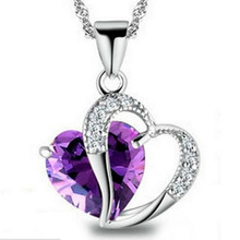 2016 Top Class Women Girls Lady Heart Crystal  healing crystals Amethyst floating locket Pendant Necklace Jewelry Fashion CC07(China (Mainland))