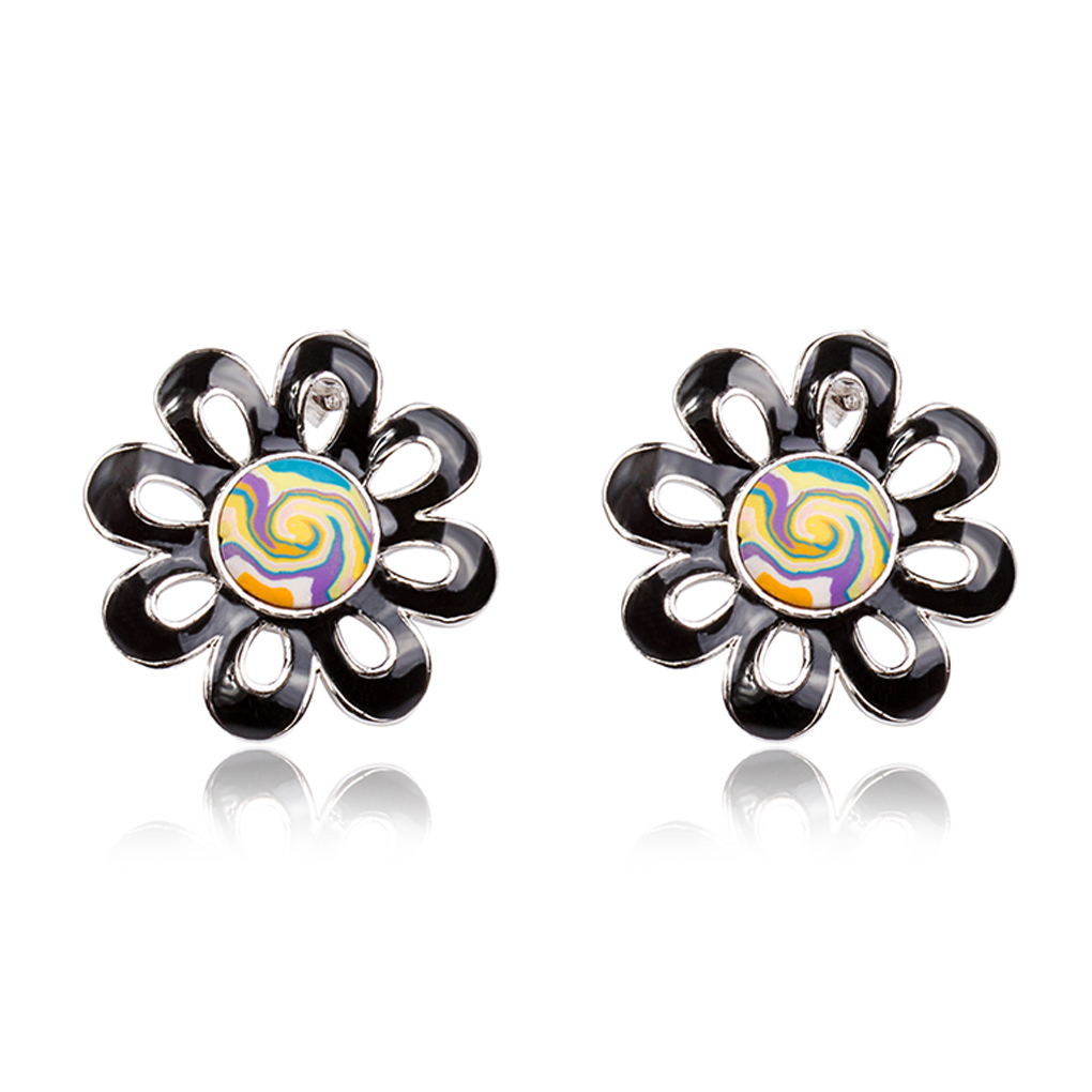 Free shipping Unique Enamel Flowers shape Stud Earrings Black Daisy stud earings for girl gifts(China (Mainland))