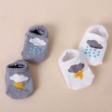 Boys Baby Infant Girl Ankle Socks Cloud Print Cotton Anti-slip Socks 2 SizesZQ1