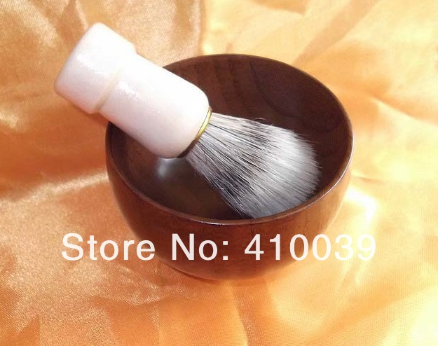 2014 New 1 set pig bristle wooden handle Shave Shaving brush & 1 shaving wood soap bowl mug cup, Free Shipping(China (Mainland))