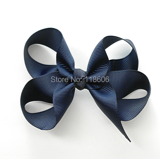 100PCS/lot 4.5''-5'' BIG Dark Navy Blue Hair Bow Grosgrain Basic Traditional Twisted Hair Accessory Free Shipping(China (Mainland))
