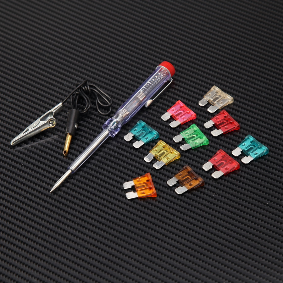 1 Set Universal Auto Car Motorcycle Blade Fuses with Tester Pen Tools Kit Clip Replacement Auto Accessories(China (Mainland))