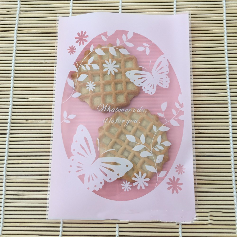 50pcs Butterfly And Flower Pink Cookies Biscuits Bags Self Adhesive Seal Wedding Cellophane Bag Snack Cake Candy Gift