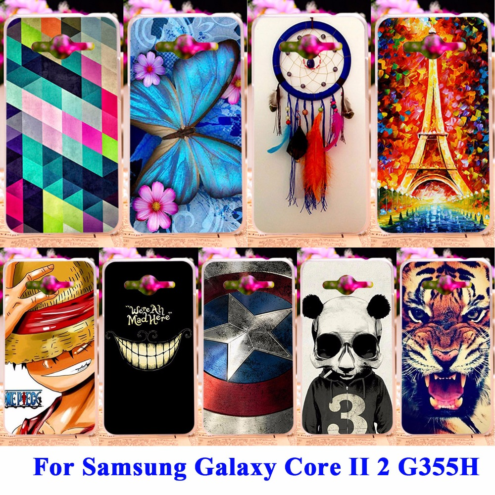 Hard PC Soft TPU Phone Cases For Samsung Galaxy Core II 2 Case G355M core2 duo G355H G355 Housing Covers Skin Shell Hood Bags(China (Mainland))