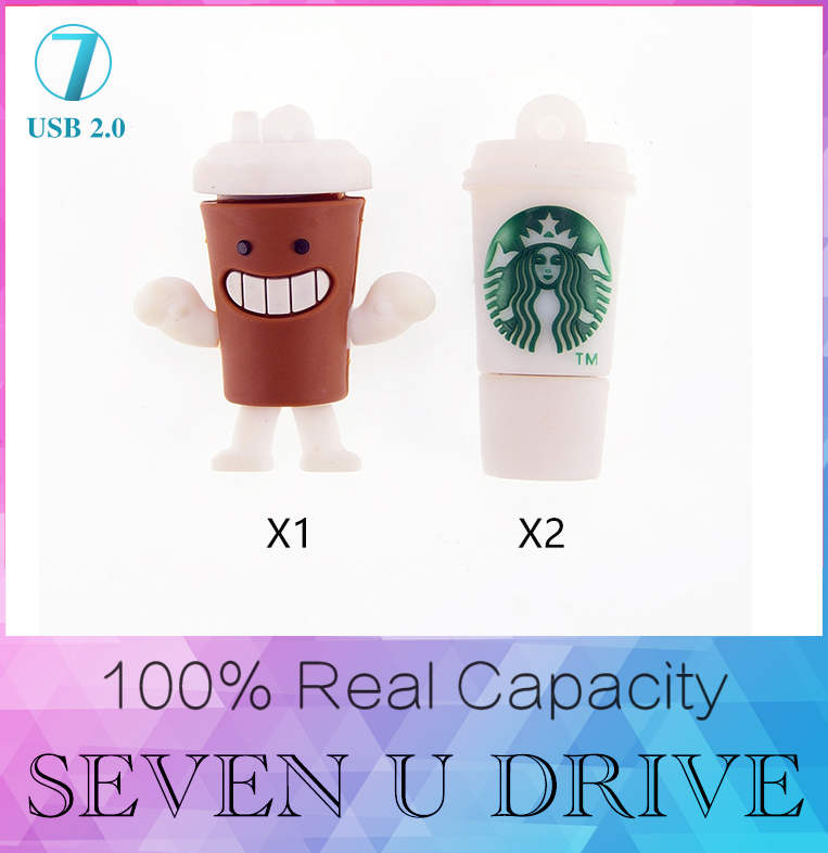 Pen Drive 128GB Starbucks Cup Usb Flash Drive 512GB 8GB 16GB 32GB Cartoon Bottle Usb Flash Usb Memory USB 2.0 Card Disk On Key(China (Mainland))