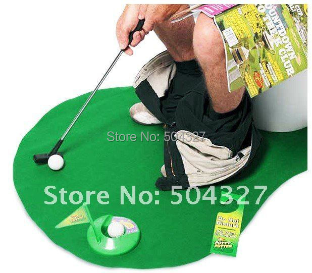Гаджет  Free Shipping Potty Putter Toilet Golf Game Mini Golf Set Toilet Golf Putting Green None Игрушки и Хобби