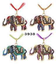 Vintage Retro elephant pendant Charm Pendant Necklace wholesale women jewelry accessories crystal rhinestone Necklace&Pendants (China (Mainland))