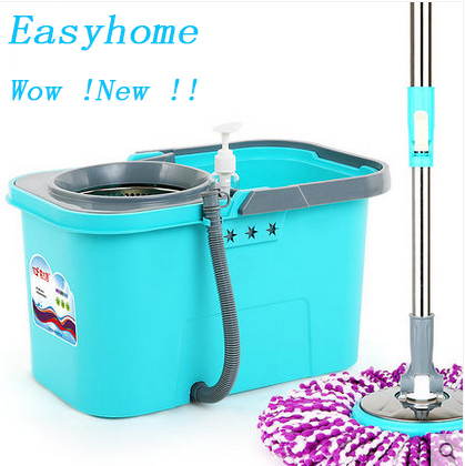 Free shipping Magic mop & 6 pieces free mop head,Drain pipe New 360 Degree mop stainless steel tube and head.hand dry mop head(China (Mainland))