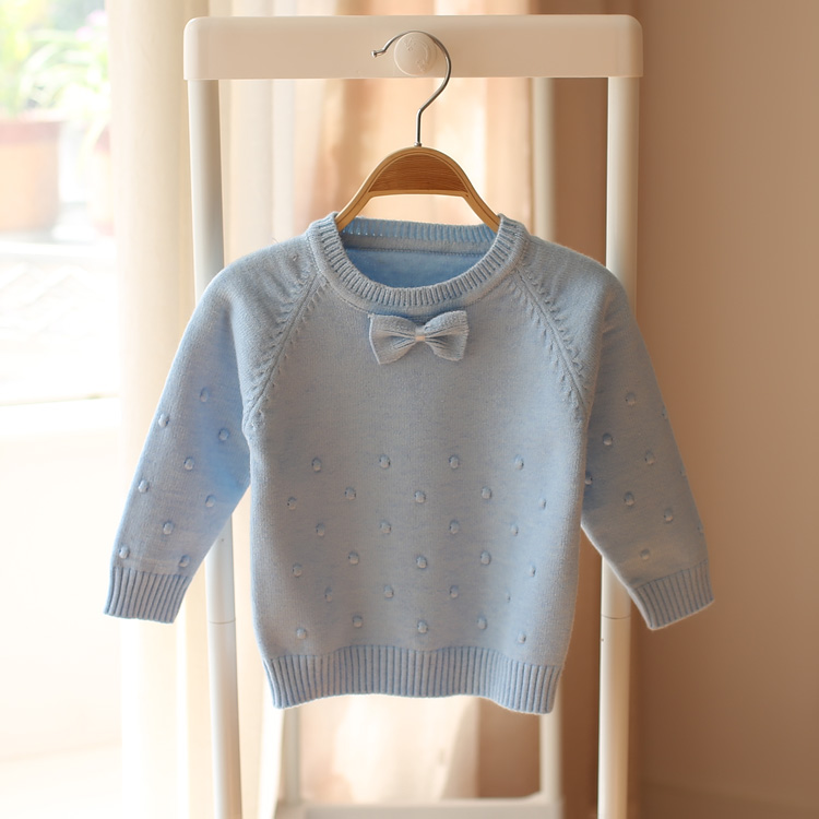 2016 spring and autumn new style baby girls knitted sweater children fashion cute bow sweater()