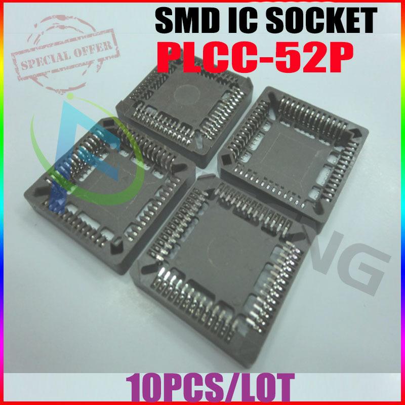 Free Shipping(10pcs/lot) NEW PLCC52 52 Pin SMD Socket Adapter PLCC Converter One Lot EL06#(China (Mainland))