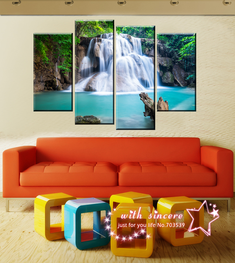 Perfect Looks Waterfall Little One Free Shop 4 pieces Room Sets Wall Art Pictures Canvas Painting Wall Pcitures For Living Room(China (Mainland))