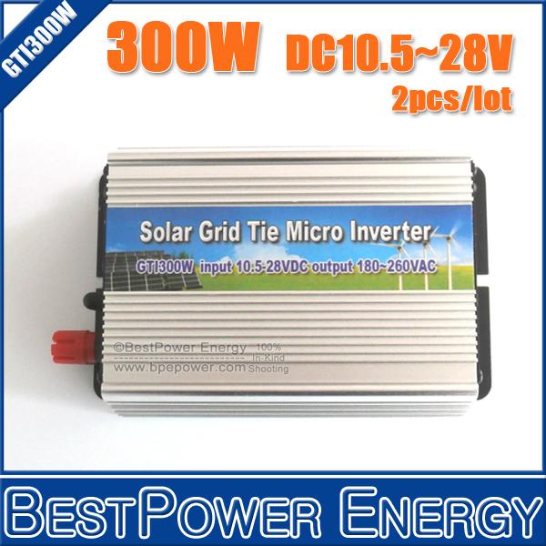 2PCS X 300W Grid Tie Inverter, Pure Sine Wave Inverter DC10.5-28V On Grid Inverter Suitable for 300-420W 18V PV Module