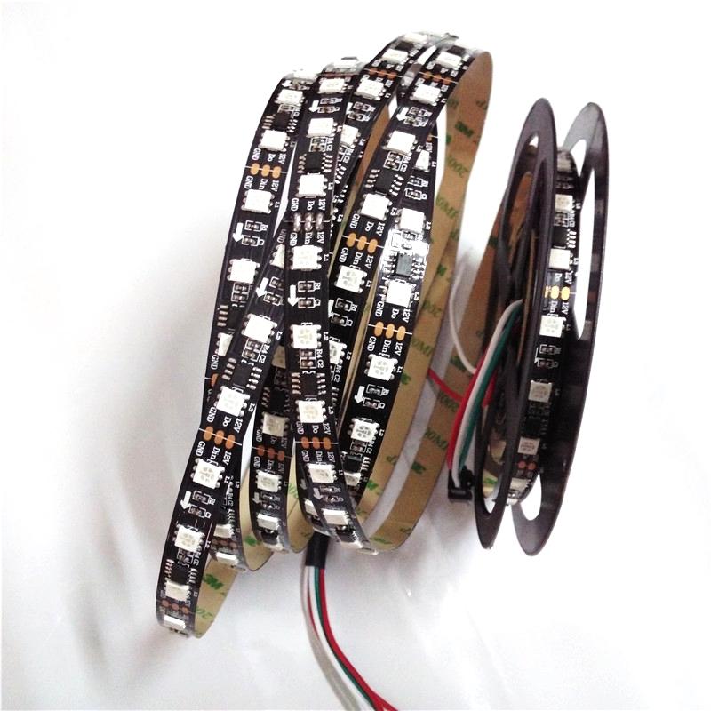 Гаджет  1M 5050 Rgb Smd WS2811 IP30 5050 RGB 2811IC Black Circuit Board Pcb 60 LEDs/M  DC12V Christmas Lights None Свет и освещение