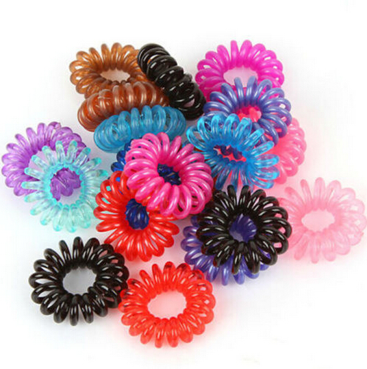 10Pcs Women Girl Colorful Elastic Rubber Hairband Rope Ponytail Holder Telephone Wire Rope Hair Tie Band Accessories xth040-3(China (Mainland))