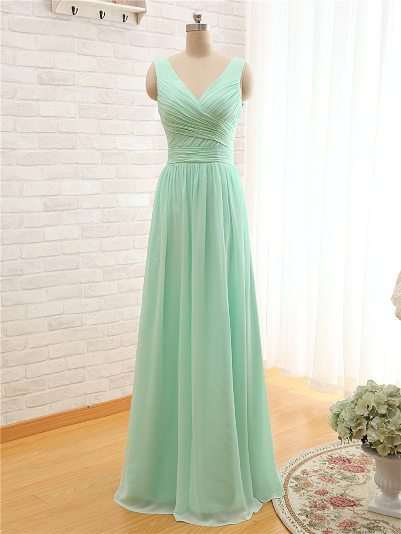 2016 Mint Green Coral Colored Bridesmaid Dresses Floor