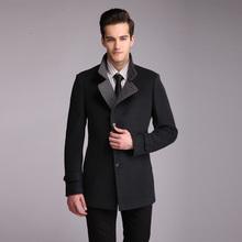 ZHANSHI 2015 Hot Sell Autumn And Winter Men Fashion Gray 80%Wool Cashmere Blend Coat  Free Shipping(China (Mainland))