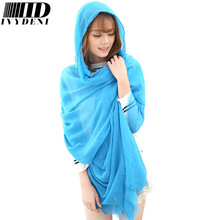200*180 Oversized Winter Cotton Shawls Womens Scarfs Fashionable Autumn Warm Bonnet Roulard Islam Solid Color Cotton Voile Scarf(China (Mainland))