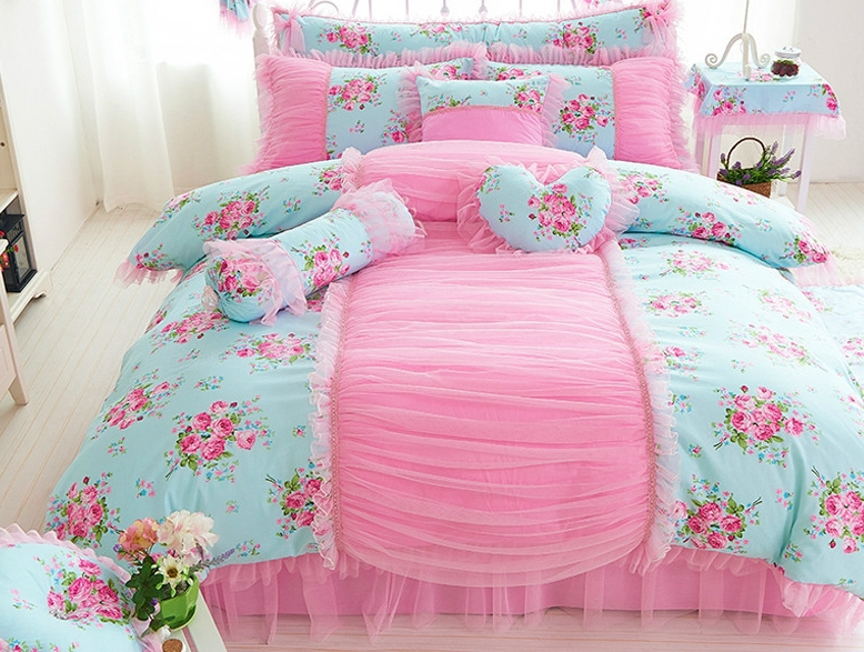 Wedding princess comforter set Home textile Children pink ruffle bedskirt bedroom bed skirt k king size comforter sets(China (Mainland))