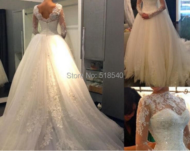 JS-33 new custom made fashion long sleeve bridal gown romantic white lace beads tutu ball wedding dresses 2015 - Moonrabbit Boutique store